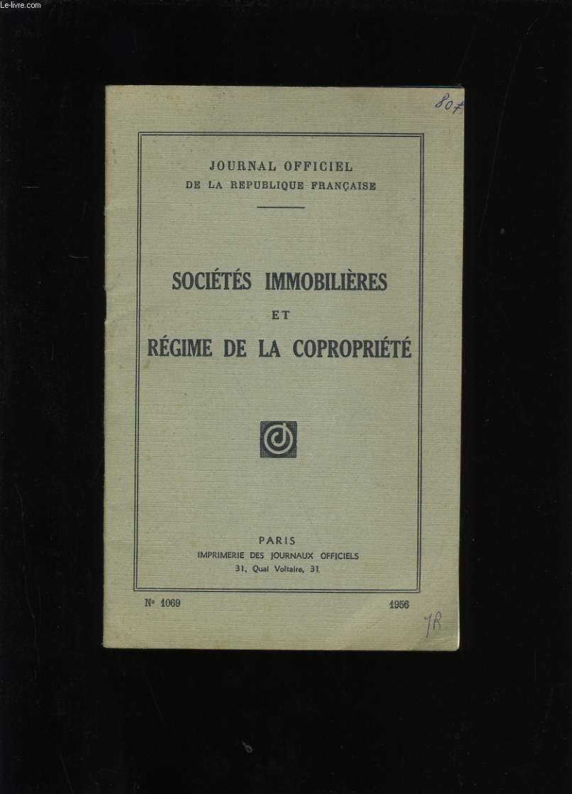 SOCIETES IMMOBILIERES ET REGIME DE LA COPROPRIETE. N° 1069.