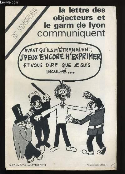 LETTRES DES OBJECTEURS ET LE GARM DE LYON COMMUNIQUENT. SUPPLEMENT AU N° 19.