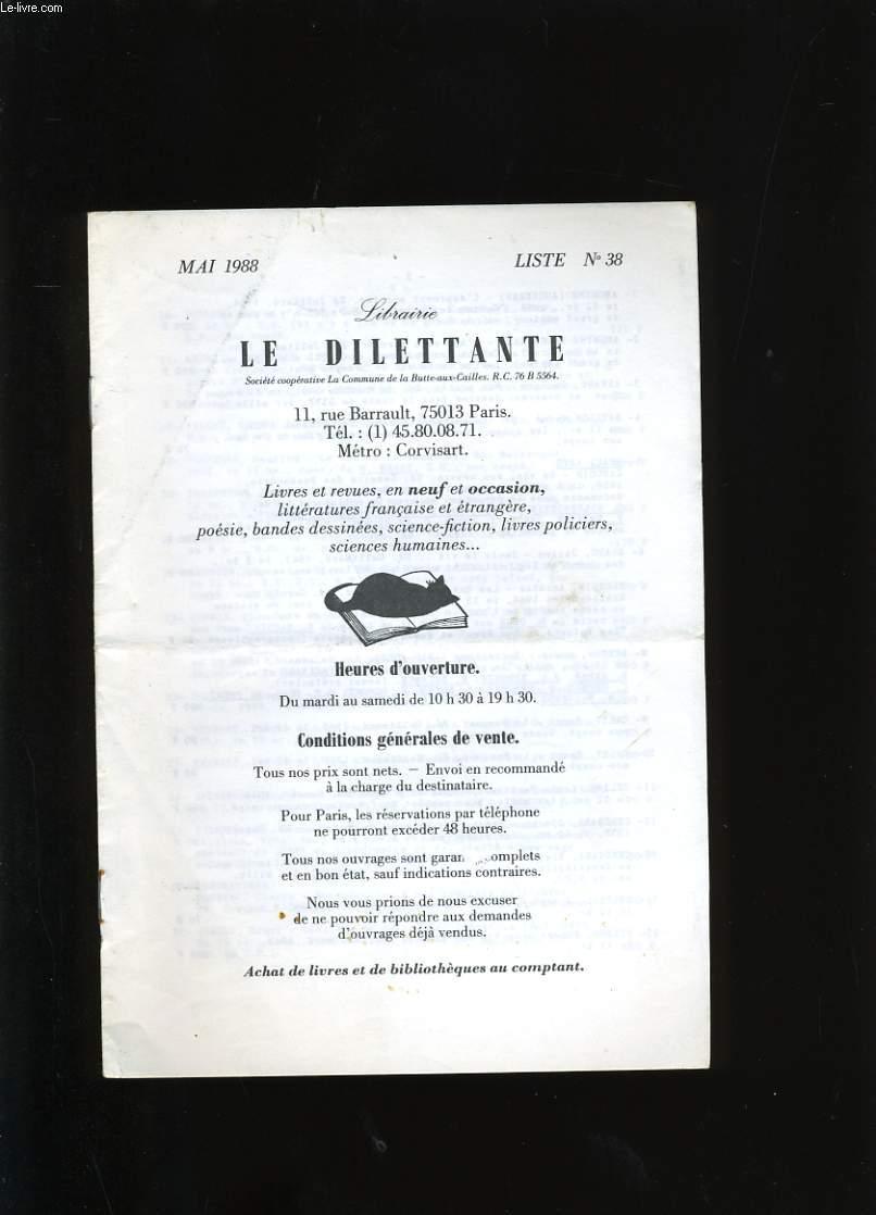 CATALOGUE DE LIVRES. LA DILLETTANTE N°38.