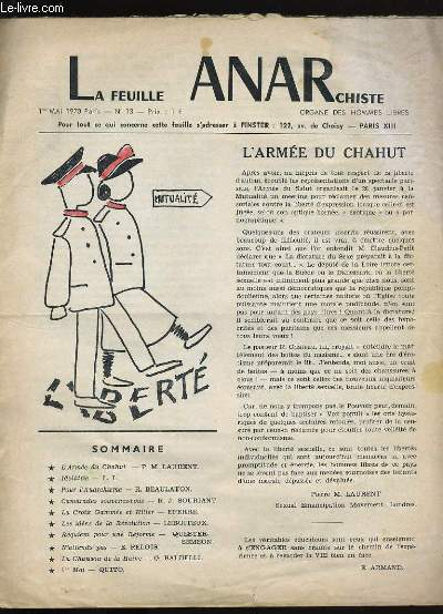 LA FEUILLE ANARCHISTE N° 13.