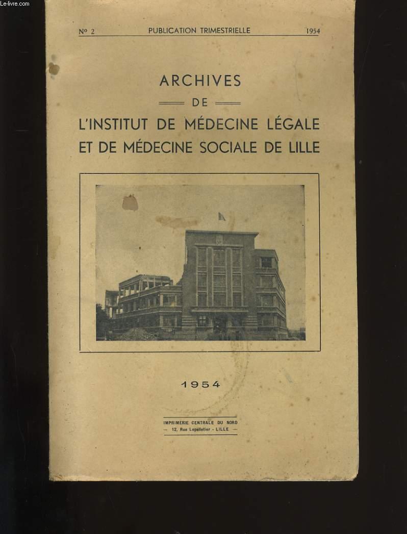 ARCHIVES DE L'INSTITUT DE MEDECINE LEGALE ET DE MEDECINE SOCIALE DE LILLE N° 2.