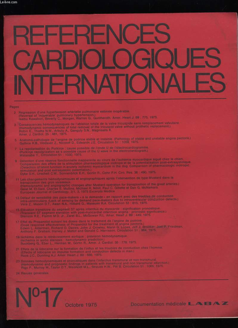 REFERENCES CARDIOLOGIQUES INTERNATIONALES. N° 17.