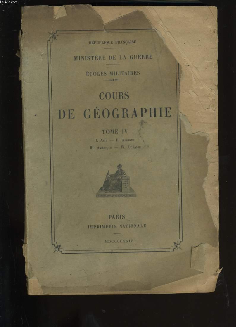 COURS DE GEOGRAPHIE. TOME IV.