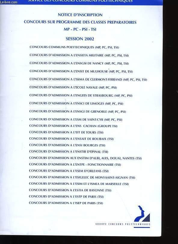 NOTICE D'INSCRIPTION CONCOURS SUR PROGRAMME DES CLASSES PREPARATOIRES.