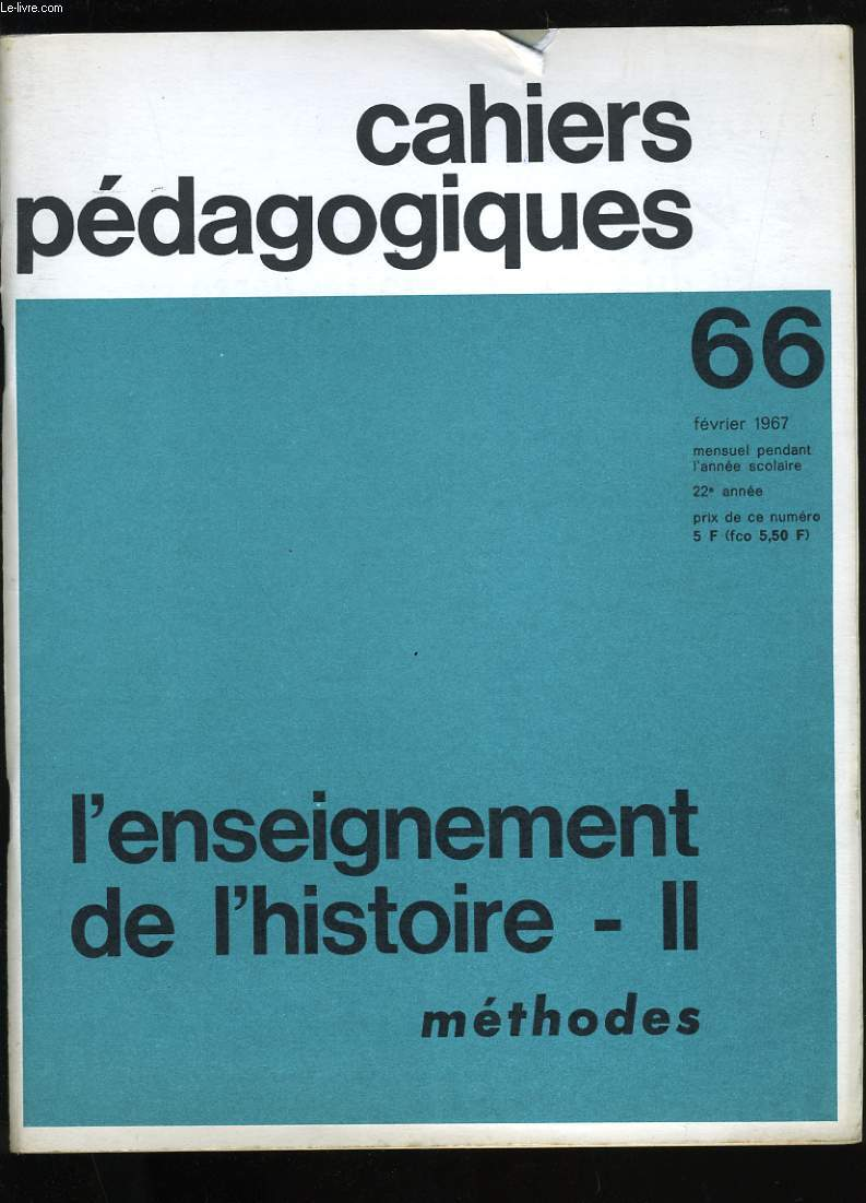 CAHIERS PEDAGOGIQUES N° 66.