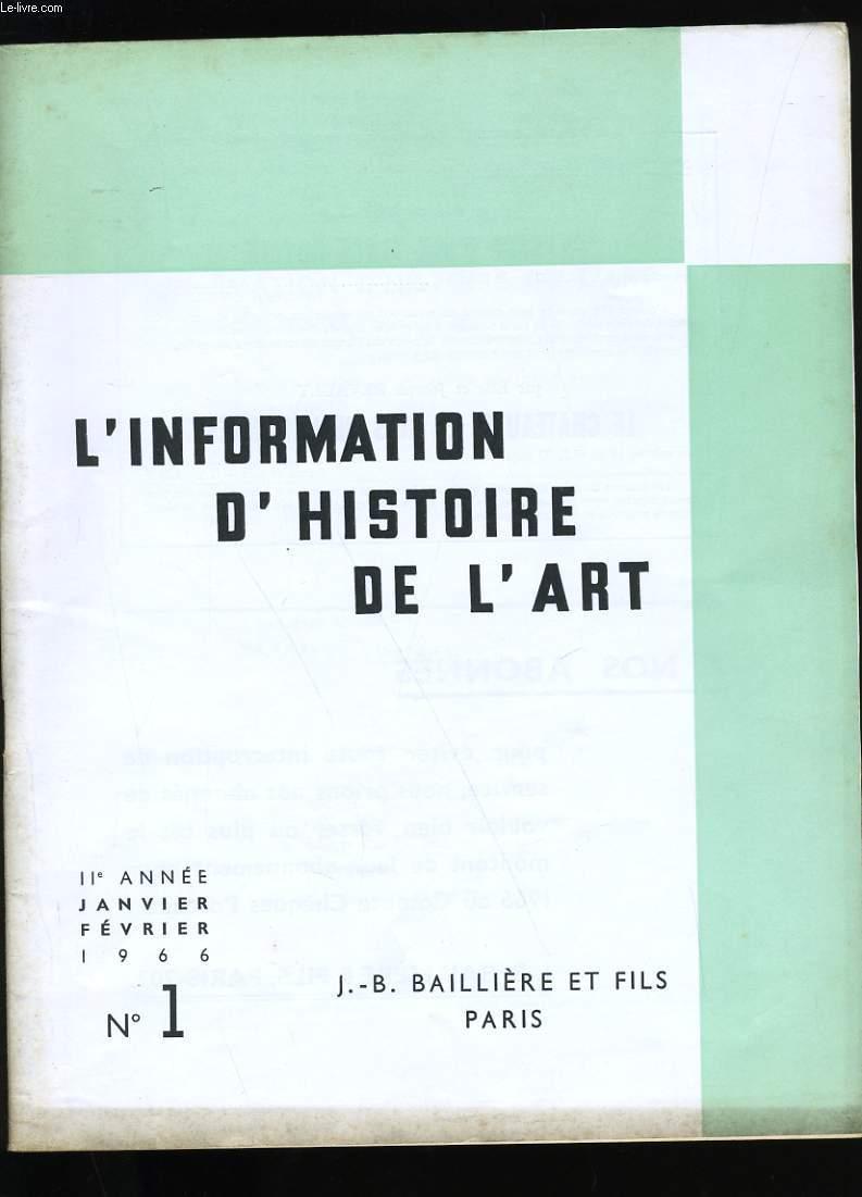L'INFORMATION D'HISTOIRE DE L'ART. N° 1.