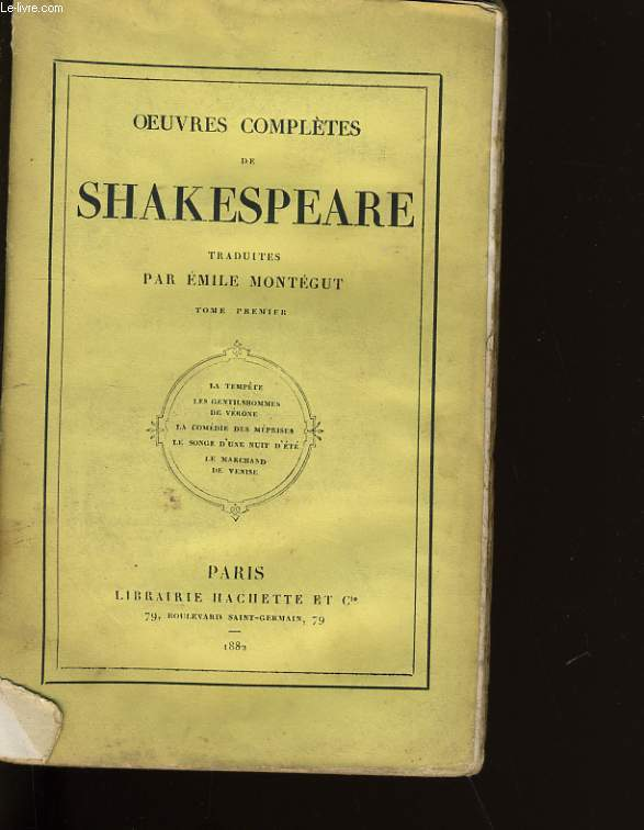 OEUVRES COMPLETES DE SHAKESPEARE. TOME 1.