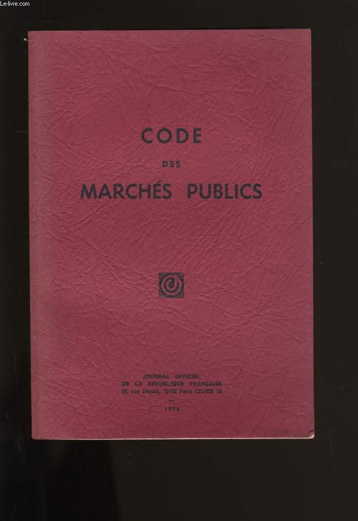 CODE DE MARCHES PUBLICS.
