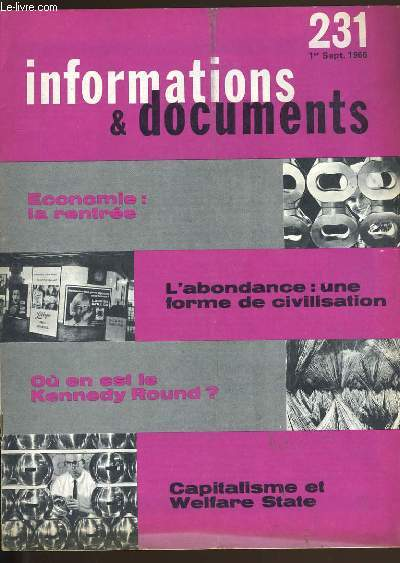 INFORMATIONS ET DOCUMENTS N° 231.