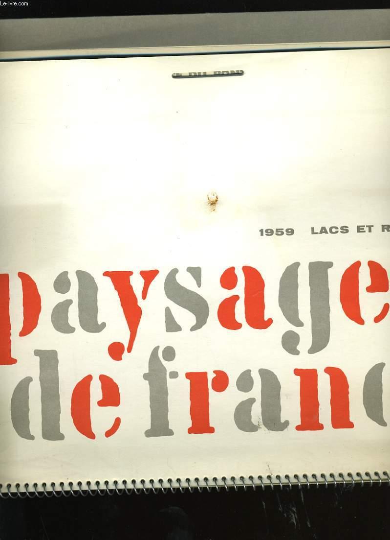 CALENDRIER ESSO 1959. PAYSAGES DE FRANCE. LACS ET RIVIERES. ESSO SERVICE DU PONT DE PIERRE.