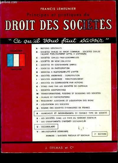 PRINCIPES ET PRATIQUES DU DROIT DE SOCIETES.