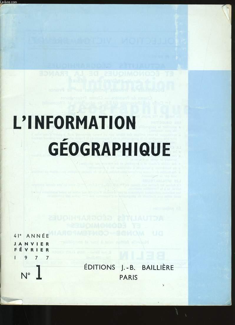 L'INFORMATION GEOGRAPHIQUE N° 1.