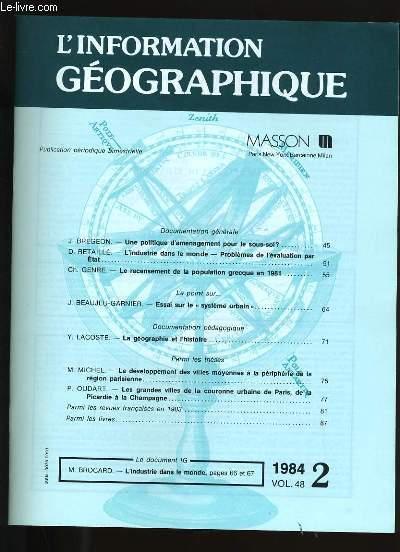 L'INFORMATION GEOGRAPHIQUE N° 2. VOL. 48.