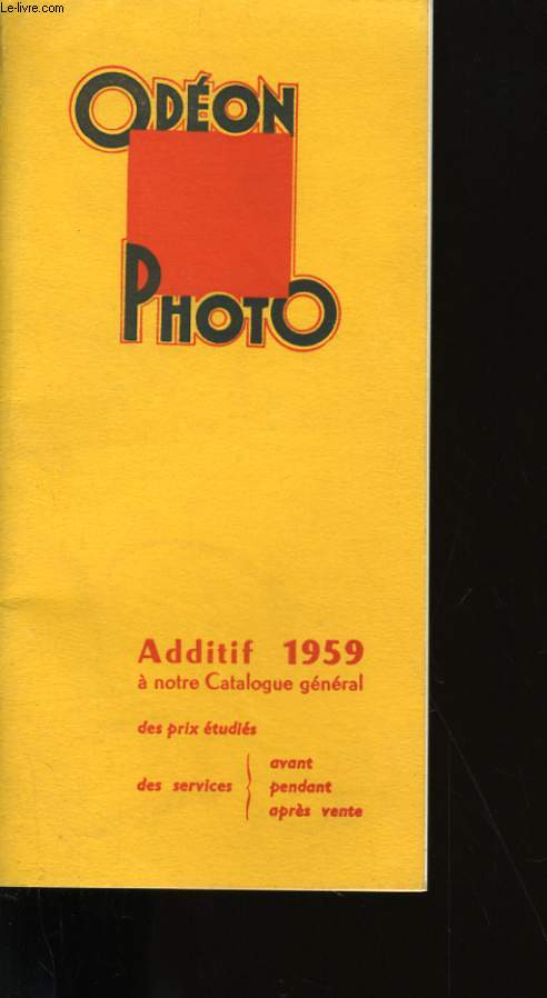ODEON PHOTO. ADDITIF 1959 A NOTRE CATALOGUE GENERAL.