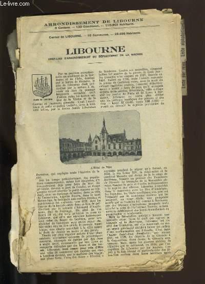 EXTRAIT DE L'ANNUAIRE DE LA GIRONDE. LIBOURNE. SON ARRONDISMENTS ET SES GRANDS VINS.