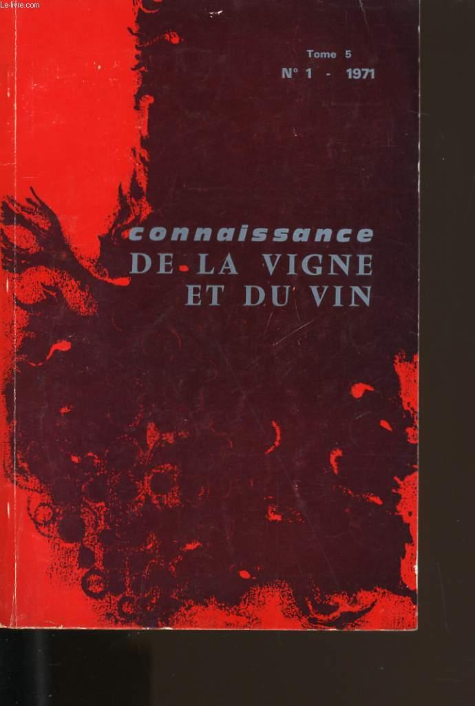 CONNAISSANCE DE LA VIGNE ET DU VIN N° 1. TOME 5.