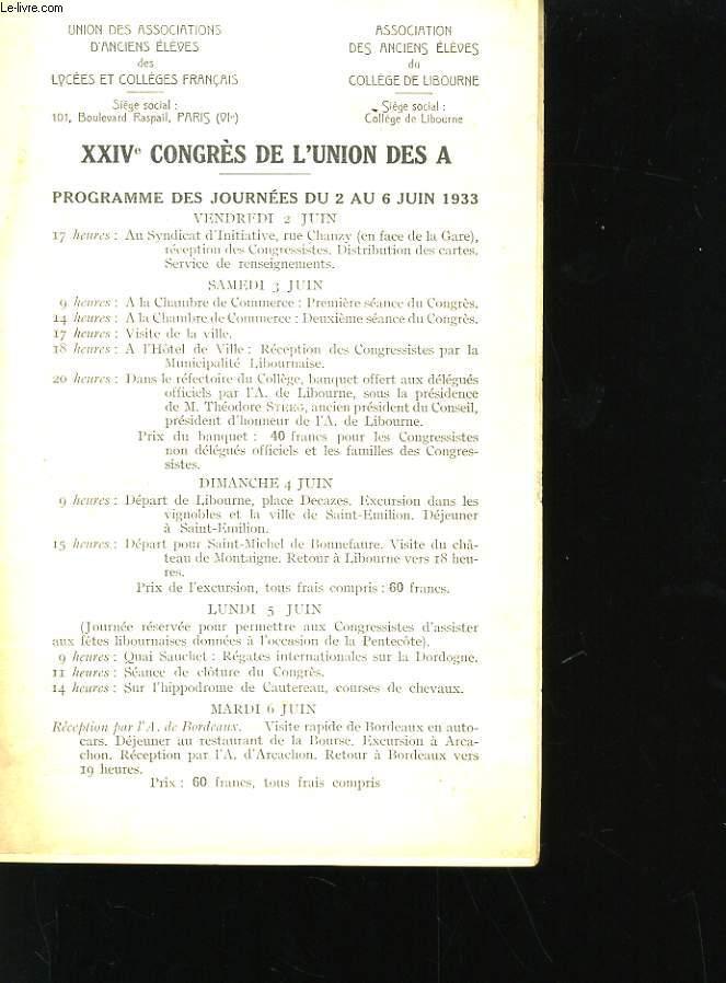 XXIVeme CONGRES DE L'UNION DES A