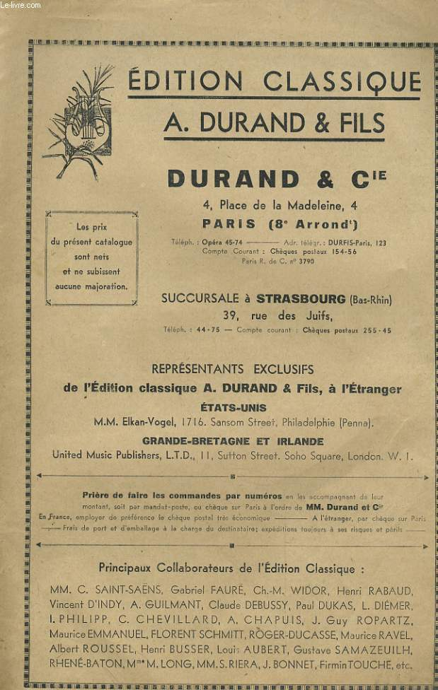 EDITION CLASSIQUE A. DURAND & FILS