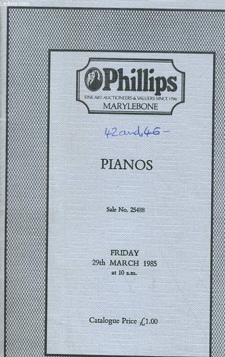 PIANOS - FRIDAY 29th MARCH 1985