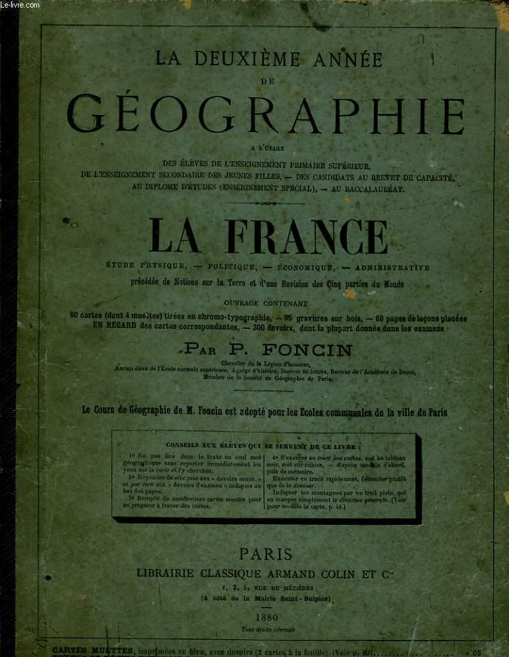 LA DEUXIEME ANNEE GEOGRAPHIE - LA FRANCE