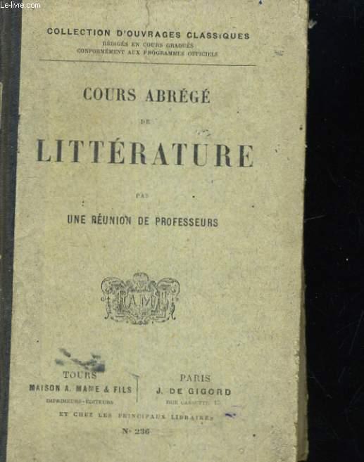 COURS ABREGE DE LITTERATURE