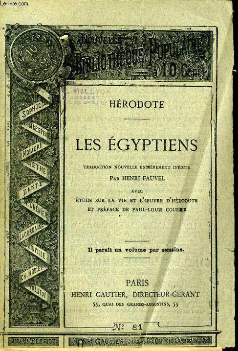 NOUVELLE BIBLIOTHEQUE POPULAIRE N°81. LES EGYPTIENS