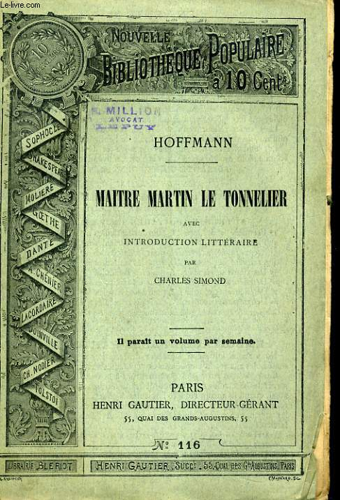 NOUVELLE BIBLIOTHEQUE POPULAIRE N°116. MAITRE MARTIN LE TONNELIER. AVEC INTRODUCTION LITTERAIRE PAR CHARLES SIMOND.