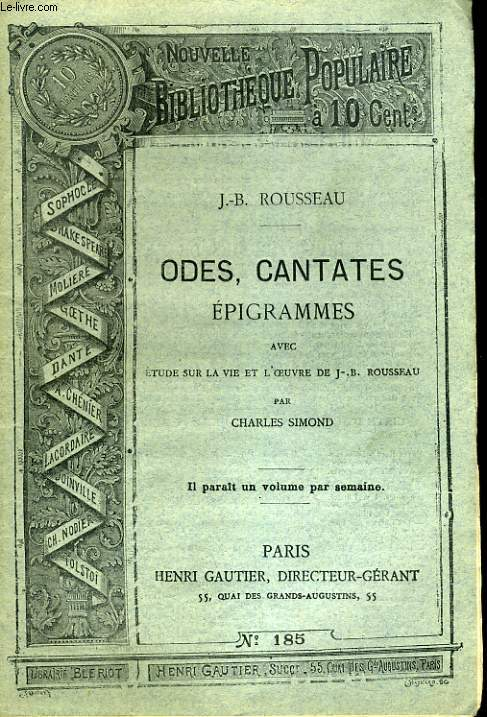 NOUVELLE BIBLIOTHEQUE POPULAIRE N°185. ODES, CANTATES EPIGRAMMES