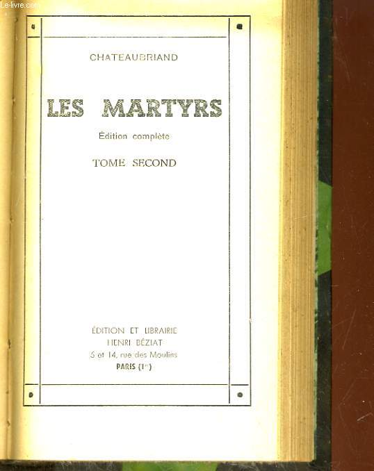 LES MARTYRS. TOME SECOND