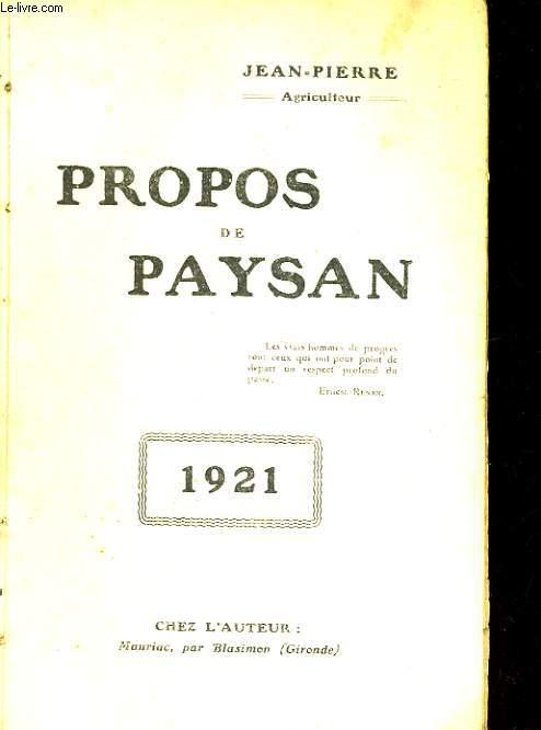 PROPOS DE PAYSAN 1921