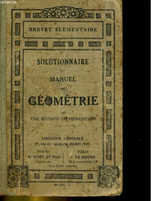 SOLUTIONNAIRE DU MANUEL DE GEOMETRIE