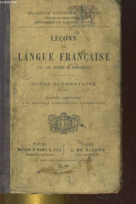 LECONS DE LANGUE FRANCAISE. COURS ELEMENTAIRE