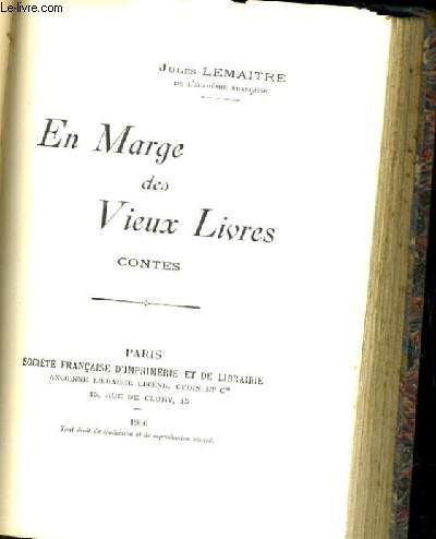 EN MARGES DES VIEUX LIVRES CONTES