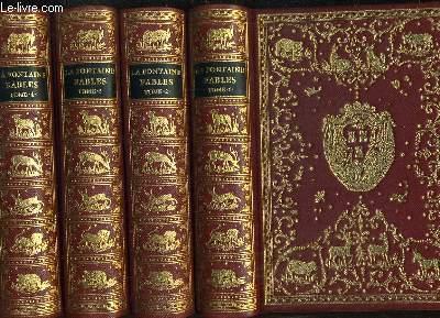 LES FABLES DE LA FONTAINE EN 4 TOMES AVEC LES FIGURES D'OUDRY PARUES DANS L'EDITION DESAINT ET SAILLANT DE 1755 - TOME 1.2.3.4.