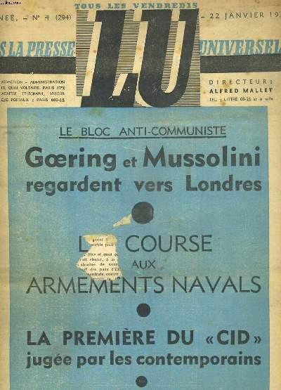LU DANS LA PRESSE UNIVERSELLE N°4 DU22 JANVIER 1937. 7e ANNEE. LE BLOC ANTI-COMMUNISTE. GOERING ET MUSSOLINI REGARDENT VERS LONDRES. LA COURSE AUX ARMEMENTS NAVALS. LA PREMIERE DU