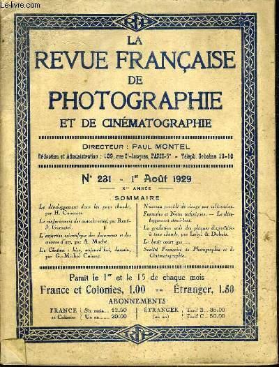 LA REVUE FRANCAISE DE PHOTOGRAPHIE ET DE CINEMATOGRAPHIE  - 1er AOUT 1929 - N°231.