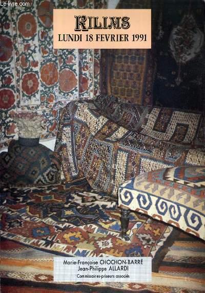 CATALOGUE DE VENTE AUX ENCHERES - DROUOT RICHELIEU - KILIMS - SALLE 10 - 18 FEVRIER 1991.