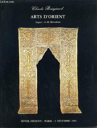 CATALOGUE DE VENTE AUX ENCHERES - HOTEL DROUOT - ART D'ORIENT - SALLE 5 et 6 - 3 DECEMBRE 1991.