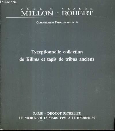 CATALOGUE DE VENTE AUX ENCHERES - DROUOT RICHELIEU - EXCEPTIONNELLE COLLECTION DE KILIMS ET TAPIS DE TRIBUS ANCIENS - SALLE 7 - 13 MARS 1991.