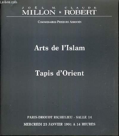 CATALOGUE DE VENTE AUX ENCHERES - DROUOT RICHELIEU - ARTS DE L'ISLAM - TAPIS D'ORIENT - SALLE 14 - 23 JANVIER 1991.