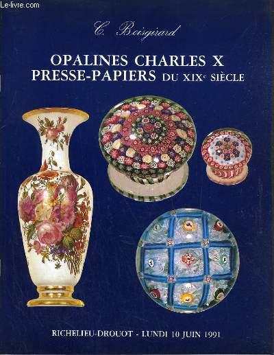 CATALOGUE DE VENTE AUX ENCHERES - DROUOT RICHELIEU - OPALINES CHARLES X PRESSE-PAPIERS DU XIXe SIECLE - SALLE 8 - 10 JUIN 1991.
