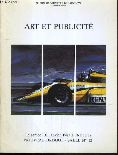CATALOGUE DE VENTE AUX ENCHERES - DROUOT -  ART ET PUBLICITE  - SALLE 12 - 31 JANVIER 1987.