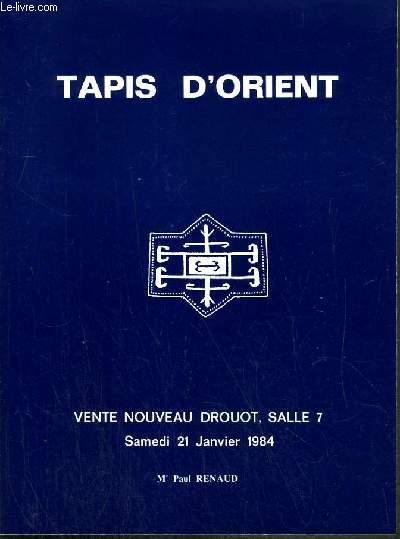 CATALOGUE DE VENTE AUX ENCHERES - NOUVEAU DROUOT - TAPIS D'ORIENT ANCIENS - SALLE 7 - 21 JANVIER 1984.