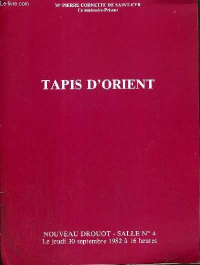 CATALOGUE DE VENTE AUX ENCHERES - NOUVEAU DROUOT - TAPIS D'ORIENT - SALLE 4 - 30 SEPTEMBRE 1982.