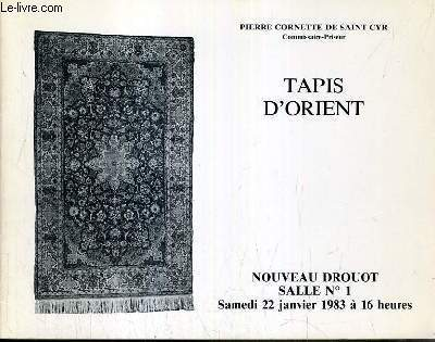 CATALOGUE DE VENTE AUX ENCHERES - NOUVEAU DROUOT - TAPIS D'ORIENT - SALLE 1 - 22 JANVIER 1983.