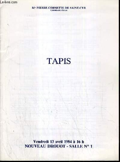 CATALOGUE DE VENTE AUX ENCHERES - NOUVEAU DROUOT - TAPIS D'ORIENT - SALLE 1 - 13 AVRIL 1984.
