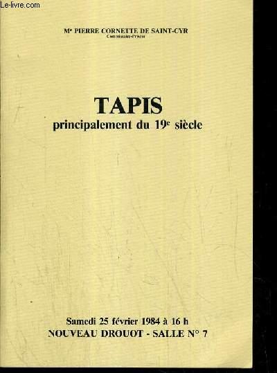 CATALOGUE DE VENTE AUX ENCHERES - NOUVEAU DROUOT - TAPIS D'ORIENT (PRINCIPALEMENT DU 19e SIECLE) - SALLE 7 - 25 FEVRIER 1984.