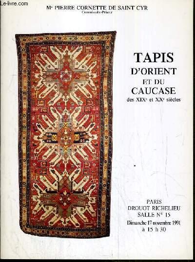 CATALOGUE DE VENTE AUX ENCHERES - NOUVEAU DROUOT - TAPIS D'ORIENT ET DU CAUCASE DES XIXe et XXe SIECLES - SALLE 15 - 17 NOVEMBRE 1991.