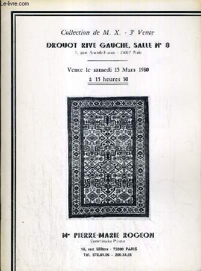 CATALOGUE DE VENTE AUX ENCHERES - DROUOT RIVES GAUCHE - TAPIS D'ORIENT - COLLECTION DE M. X. - 3ème VENTE - SALLE 8 - 15 MARS1980.