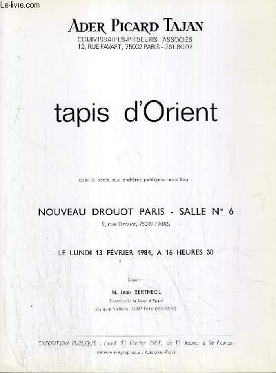 CATALOGUE DE VENTE AUX ENCHERES - NOUVEAU DROUOT - TAPIS D'ORIENT - SALLE 6 - 13 FEVRIER 1984.
